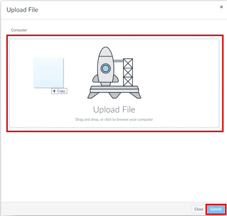 """box containing the words """"upload file area"""""""