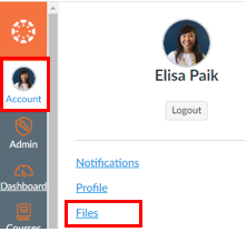 The Account button in the global navigation menu showing a menu with a link called Files.