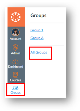 Groups button in the global navigation menu with a link called All Groups in the sub-menu.