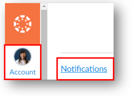 Account button in the global navigation menu with Notifications in the sub-menu.