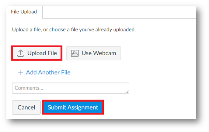 A tab called File. Within it is a highlighted button called Upload File. Another button is highlighted at the bottom right, called Submit Assignment.