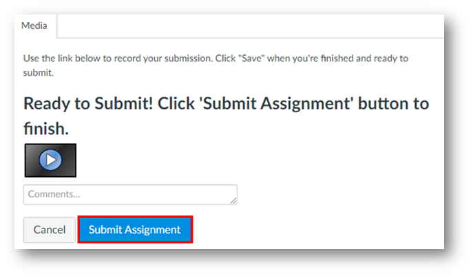 Within a tab called Media, a button called Submit Assignment at the bottom right is highlighted.