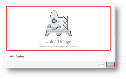 Drag and drop image or click to browse computer, then select submit to upload an image.