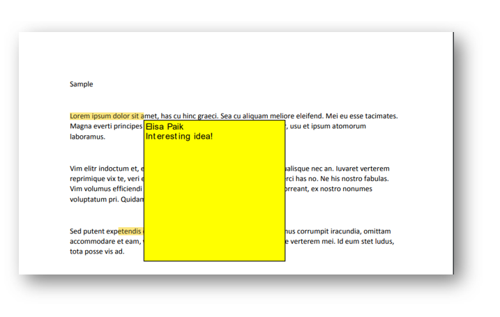 Cursor is hovered over highlighted text. There is a comment within a popup window.