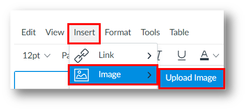 Upload image by selecting insert in tool bar, then image, then upload image.