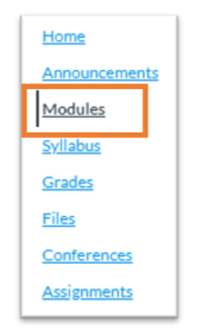 The Modules link in the course navigation menu