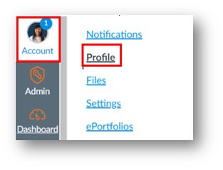 Account button in global navigation menu and the link to edit profile settings, reading, Profile