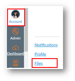 The account button in the gobal navigation menu, and the link to Files
