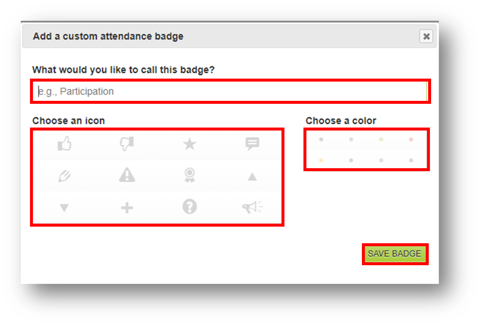 The text field for entering the badge title, the badge icon selection box, the badge color selection box, and the save badge button