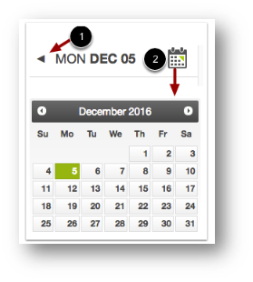 The number 1 with and arrow pointing to the arrow icon next to the date, and the number 2 with an arrow pointing to the calendar icon