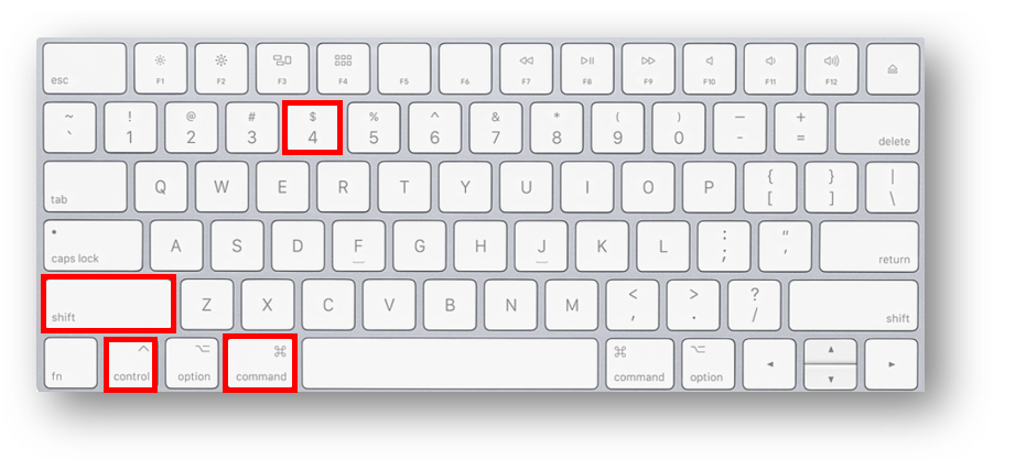An apple keyboard with the command key, the control key, the shift key, and the number 4 key highlighted