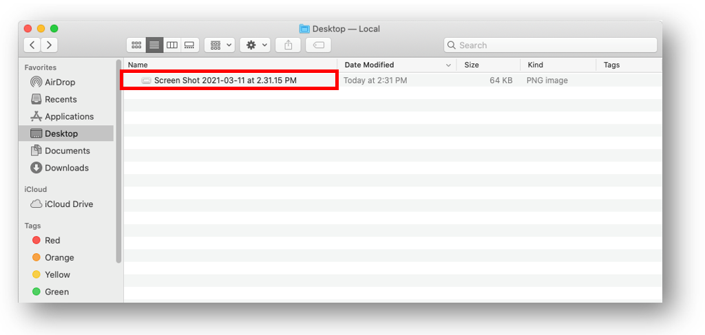 Mac OS finder window with a sample image file highlighted