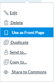 Drop-down menu with the options reading, Use as Front Page highlighted