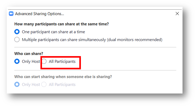 Within the Advanced Sharing Options window, All Participants is highlighted in the Who Can Share? section.