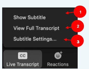 A menu showing 3 options: #1 Show subtitle. #2 View full transcript. #3 Subtitle settings.