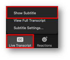 CC button is highlighted and shows menu options. Within the menu, Show Subtitle is highlighted.