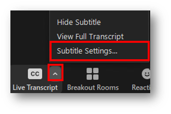 Arrow next to CC button is highlighted with an open menu. Within the menu, Subtitle Settings is highlighted.