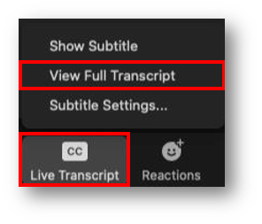 CC button is highlighted with an open menu. Within the menu, View Full Transcript is highlighted.