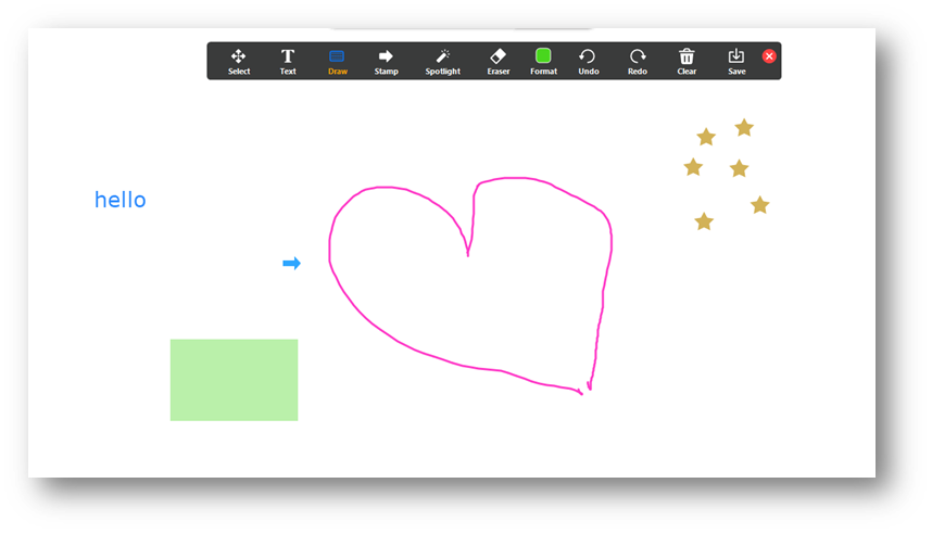 The annotate toolbar with examples of text, stamps, drawings, and shapes