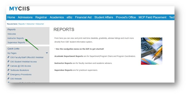 The instructor reports link in the side navigation menu