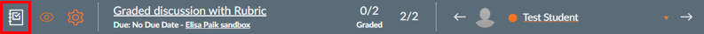 The Gradebook icon at the top left of SpeedGrader.