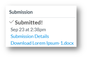 Submission confirmation contains check mark, date, and time stamp when submitted successfully.