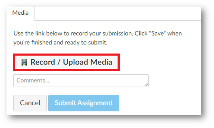 A tab called Media. Within it a button called Record/Upload Media is highlighted.