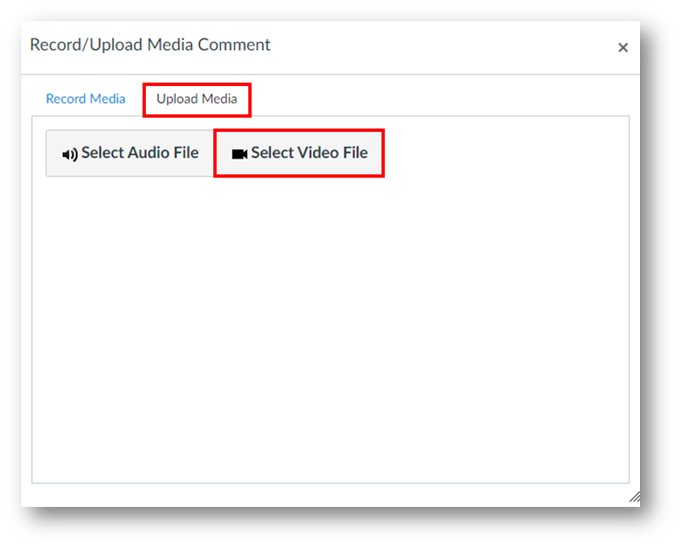 The second tab called Upload Media is highlighted. Within it is a highlighted button called Select Video File.