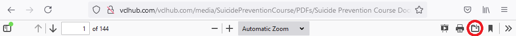 PDF toolbar in Firefox. The third button from the right is a folder containing a downward arrow that is highlighted.